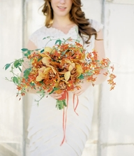 Orange Red Yellow Bridal Bouquet