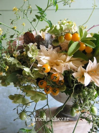 orange tomato wedding centerpiece