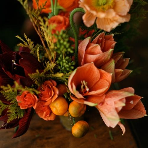 orange wedding reception centerpieces
