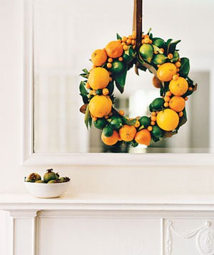 orange wreath holiday decor