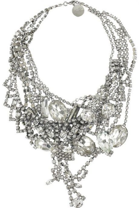 ornate embellished silver diamond necklace