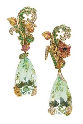 ornate gold green earrings