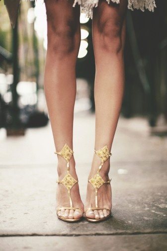 ornate gold wedding shoes
