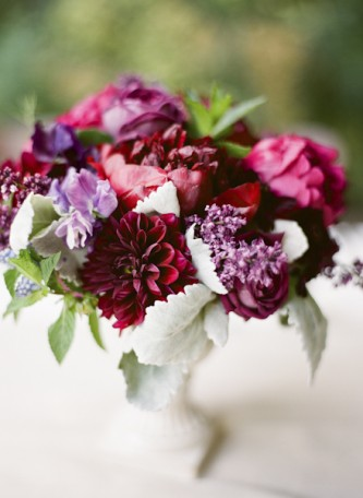 oxblood flower wedding centerpiece