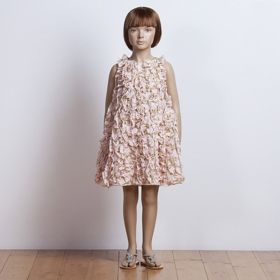 pink ruffle flower girl dress
