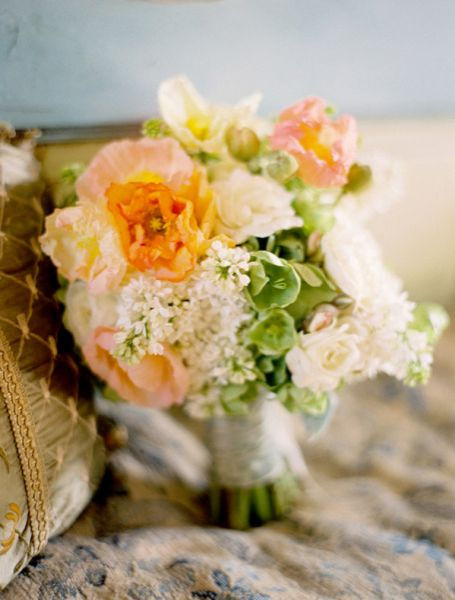 Peach Bridesmaid Bouquet White