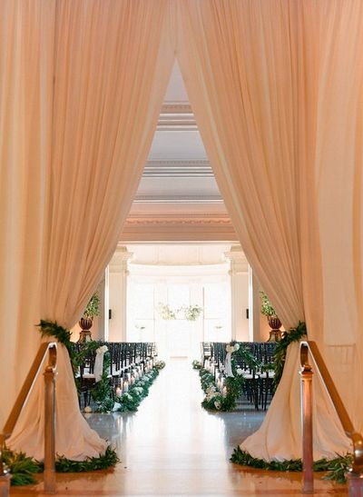 peach curtain wedding ceremony decorations