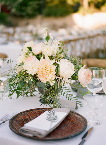 Peach Fern Wedding Reception Centerpieces Once Wed