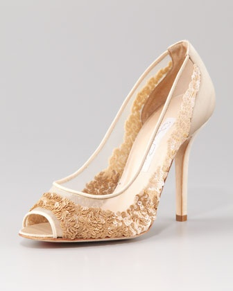 peach gold floral shoes