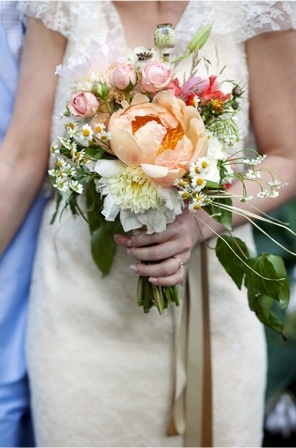 peach peony wedding bouquet