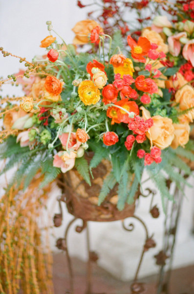 peach red green wedding centerpiece