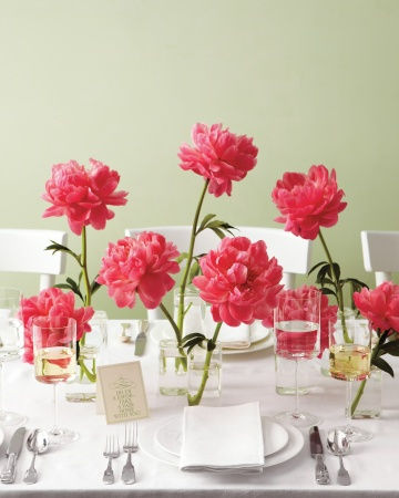 peonies centerpieces red