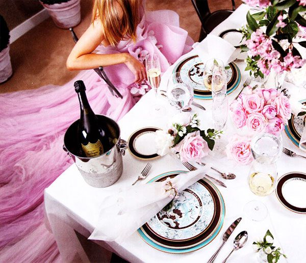 pink black reception tables