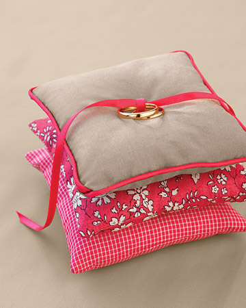 pink brown ring bearer pillow