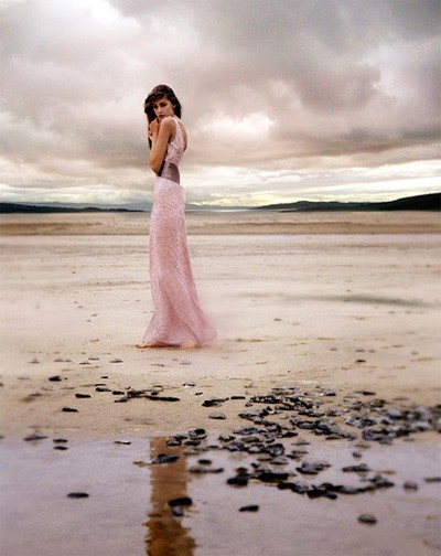 pink coastal wedding dress