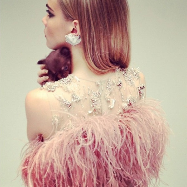 pink feather bridesmaid dress