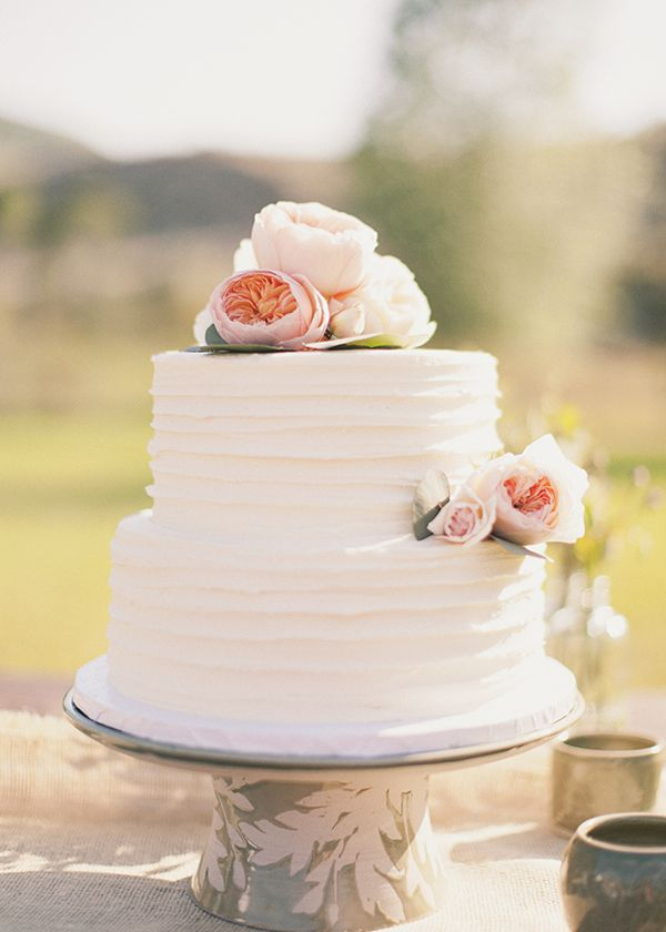 Pink Flower Wedding Cake Once Wed