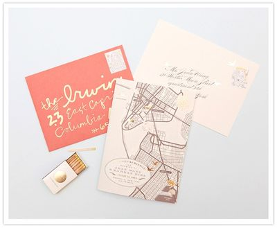 pink gold brown invitation suite