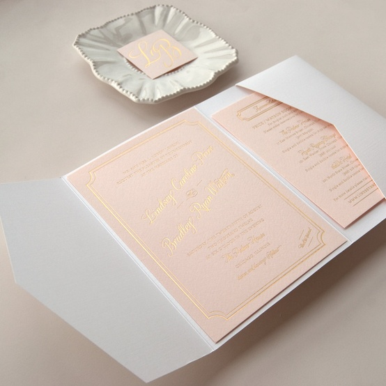 pink gold invitations