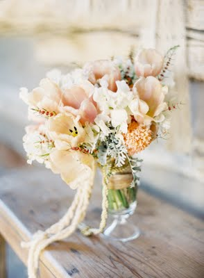 pink gray bridal bouquet