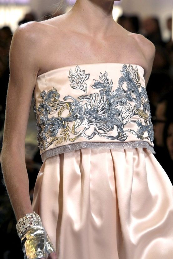pink gray embroidered gown