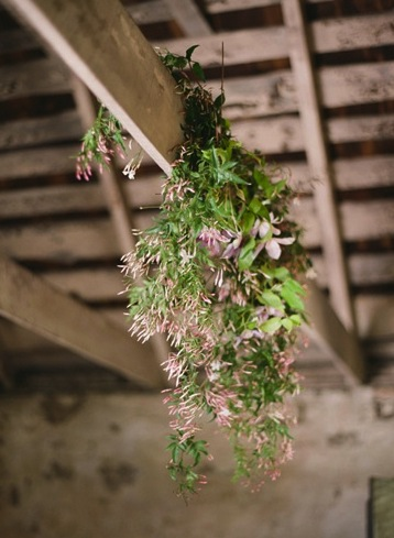 pink greenery natural chandelier