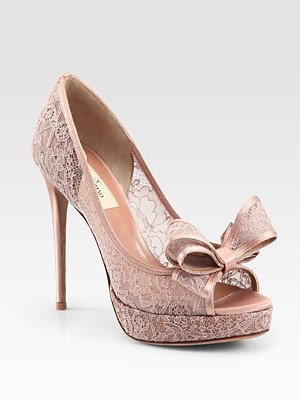 pink lace heels