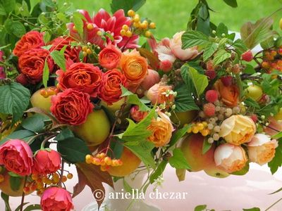 pink orange yellow wedding centerpiece