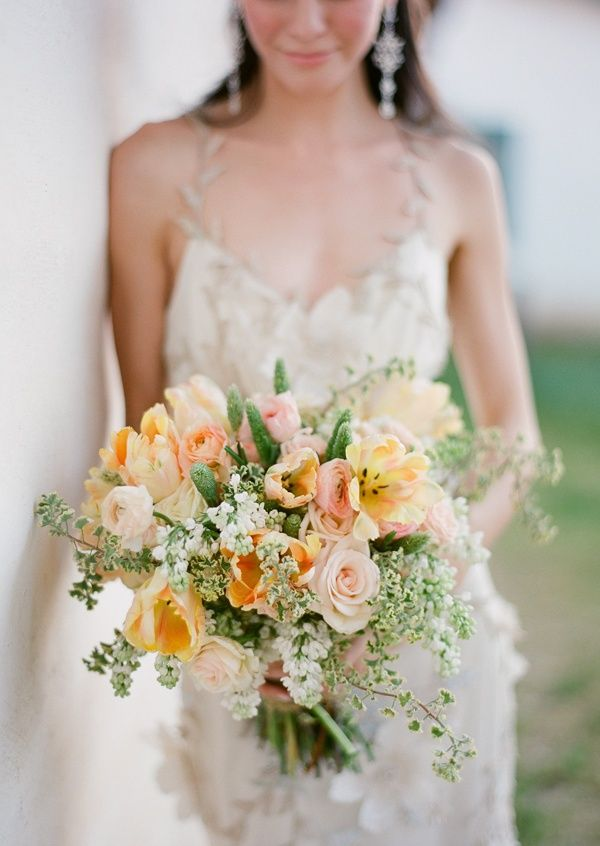 Pink Peach Yellow Bridal Bouquet Once Wed