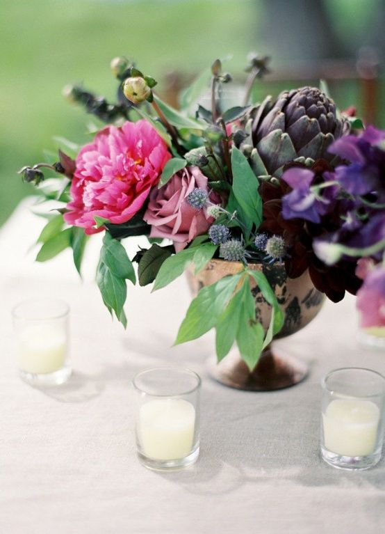 pink purple centerpiece