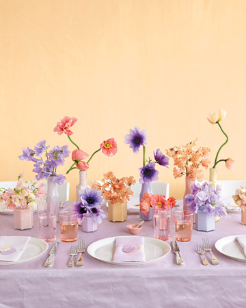pink purple table flowers