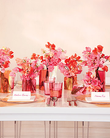 pink red flower centerpieces