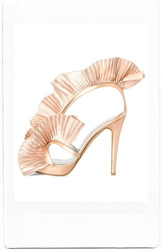 pink ribbon pleated heels