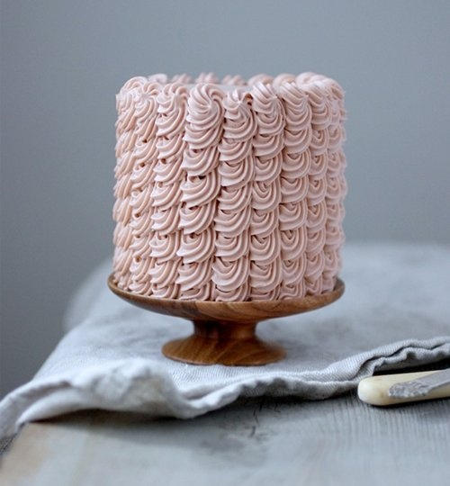 pink ruffled wedding cake