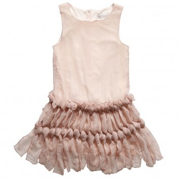 pink sleeveless dress with knotted skirt