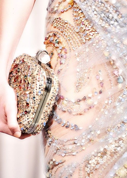 pink sparkle gown clutch