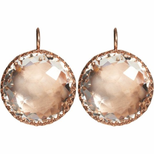 pink stone rose gold earrings