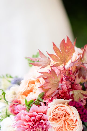pink white fall wedding flowers natural leaves