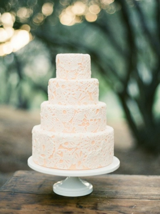 Pink White Lace Wedding Cake Once Wed