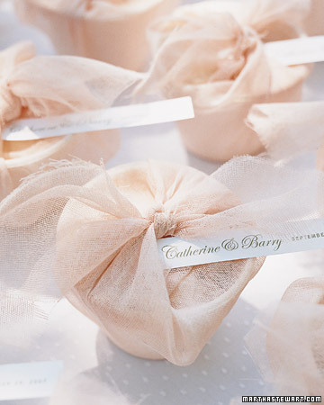 pink wrapped wedding favors