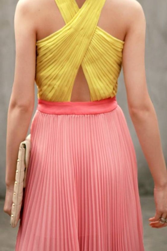 pink yellow summer dress