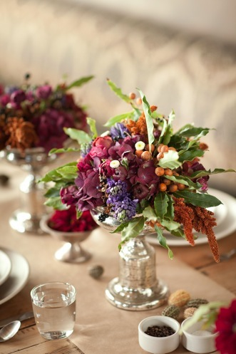 purple berry rustic wedding centerpiece