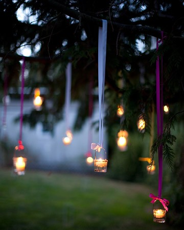 purple blue ribbon hanging lights