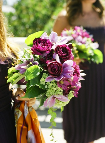 purple-bouquet-bright-green-leaves