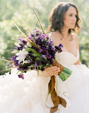 Purple Bouquet Brown Ribbon