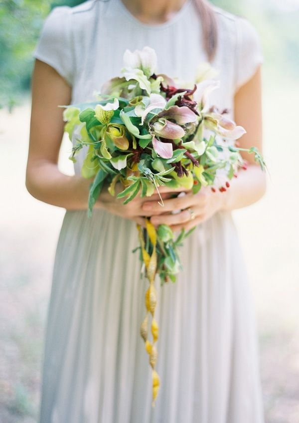 Purple Gold Green Garden Bouquet