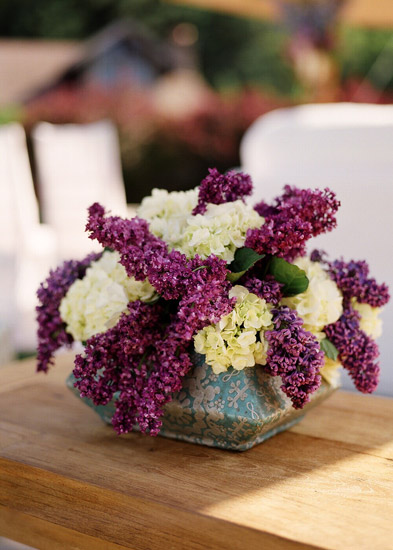 purple hydrangea wedding reception centerpiece
