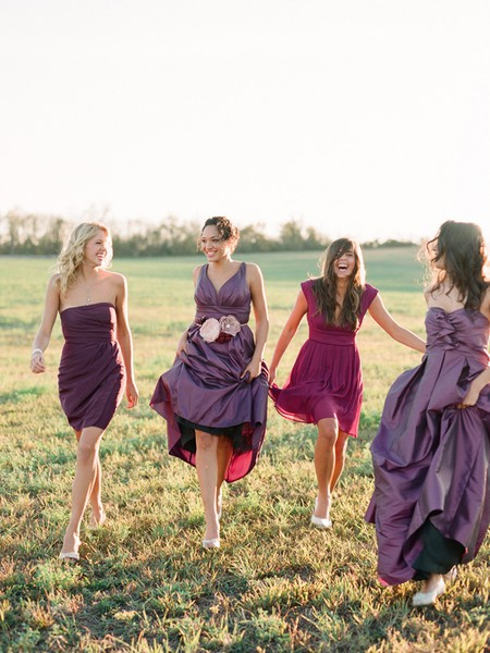 purple shades bridesmaid dress