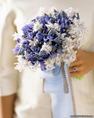 purple white bouquet tight