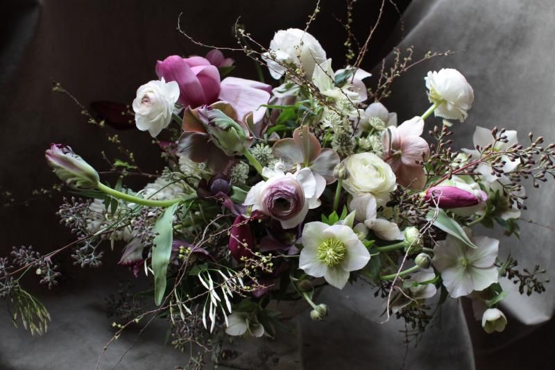 purple white garden wedding centerpiece